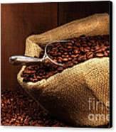 Coffee Beans In Burlap Sack Canvas Print by Sandra Cunningham