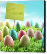 Colorful Easter Eggs With Sign In A Field Canvas Print by Sandra Cunningham