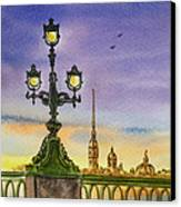Colors Of Russia Bridge Light In Saint Petersburg Canvas Print by Irina Sztukowski