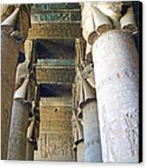 Columns In Temple Of Hathor Near Dendera In Qena-egypt Canvas Print by Ruth Hager