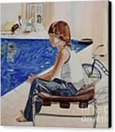 Community Pool Canvas Print by Debra Chmelina