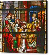Consecration Of St Augustine Stained Glass Window Canvas Print by Christine Till