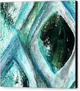 Contemporary Abstract- Teal Drops Canvas Print by Linda Woods