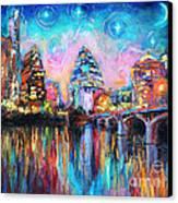 Contemporary Downtown Austin Art Painting Night Skyline Cityscape Painting Texas Canvas Print by Svetlana Novikova