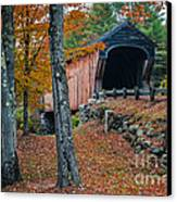 Corbin Covered Bridge Newport New Hampshire Canvas Print by Edward Fielding