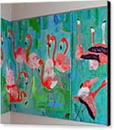 Corner Flamingos Canvas Print by Vicky Tarcau