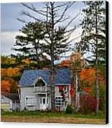 Country Cottage In Autumn Canvas Print by Julie Dant