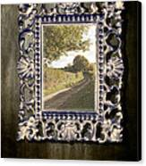Country Lane Reflected In Mirror Canvas Print by Amanda And Christopher Elwell