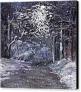 Country Road On A Wintery Night Canvas Print by Jack Skinner