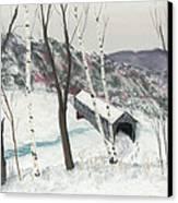 Covered Bridge Canvas Print by George Burr