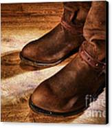 Cowboy Boots On Saloon Floor Canvas Print by Olivier Le Queinec