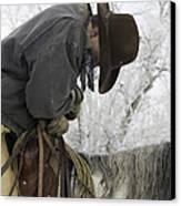 Cowboy Sleeps In The Saddle Canvas Print by Carol Walker