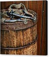 Cowboy Spurs On Wooden Barrel Canvas Print by Paul Ward