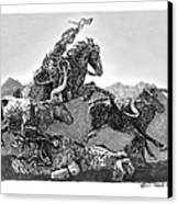 Cowboys And Longhorns Canvas Print by Jack Pumphrey