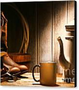 Cowboy's Coffee Break Canvas Print by Olivier Le Queinec