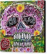 Craneo Rosado De Los Muertos Canvas Print by Laura Barbosa