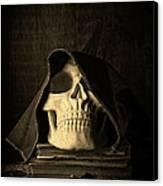 Creepy Hooded Skull Canvas Print by Edward Fielding