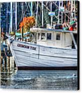 Crimson Tide In Harbor Canvas Print by Michael Thomas