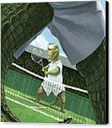 Crocodiles Playing Tennis At Wimbledon  Canvas Print by Martin Davey