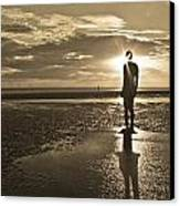 Crosby Beach Sepia Sunset Canvas Print by Paul Madden