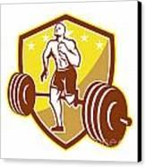 Crossfit Athlete Runner Barbell Shield Retro Canvas Print by Aloysius Patrimonio