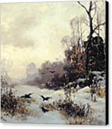 Crows In A Winter Landscape Canvas Print by Karl Kustner
