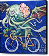 Cthulhu On A Bicycle Canvas Print by Ellen Marcus