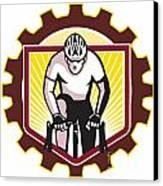 Cyclist Riding Bicycle Cycling Front Sprocket Retro Canvas Print by Aloysius Patrimonio