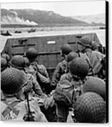 D-day Soldiers In A Higgins Boat  Canvas Print by War Is Hell Store