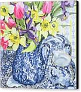 Daffodils Tulips And Irises With Blue Antique Pots  Canvas Print by Joan Thewsey