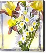 Daisies With Yellow Irises Canvas Print by Kip DeVore
