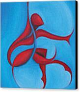 Dancing Sprite In Red And Turquoise Canvas Print by Tiffany Davis-Rustam
