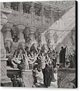 Daniel Interpreting The Writing On The Wall Canvas Print by Gustave Dore