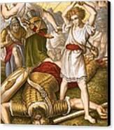 David Slaying Goliath Canvas Print by English School