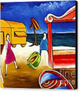 Day At The Beach Canvas Print by William Cain