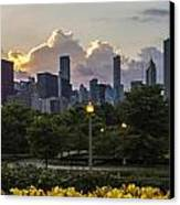 Day Lilys And Chicago Skyline In A 3 To 1 Aspect Ratio Canvas Print by Sven Brogren