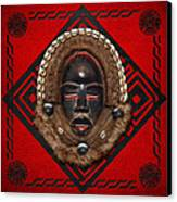 Dean Gle Mask By Dan People Of The Ivory Coast And Liberia On Red Leather Canvas Print by Serge Averbukh