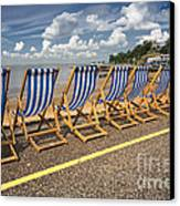 Deckchairs At Southend Canvas Print by Avalon Fine Art Photography