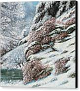 Deer In A Snowy Landscape Canvas Print by Gustave Courbet