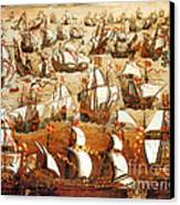 Defeat Of The Spanish Armada 1588 Canvas Print by Photo Researchers