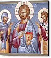 Deisis Jesus Christ St Anastasios And St Eleftherios Canvas Print by Julia Bridget Hayes