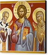 Deisis Jesus Christ St Nicholas And St Paraskevi Canvas Print by Julia Bridget Hayes