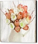 Deluxe Peach Tulips Canvas Print by Debra  Miller