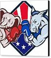 Democrat Donkey Republican Elephant Mascot Boxing Canvas Print by Aloysius Patrimonio