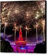Denver Co 4th Of July Fireworks Canvas Print by Teri Virbickis