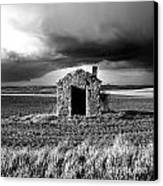 Derelict Stone Shed In  Auvergne. France Canvas Print by Bernard Jaubert