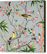 Detail Of The 18th Century Wallpaper In The Drawing Room Photograph Canvas Print by John Bethell
