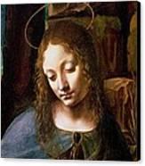 Detail Of The Head Of The Virgin Canvas Print by Leonardo Da Vinci