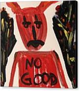 devil with NO GOOD tee shirt Canvas Print by Mary Carol Williams