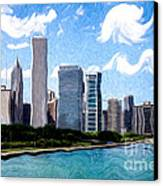 Digitial Painting Of Downtown Chicago Skyline Canvas Print by Paul Velgos